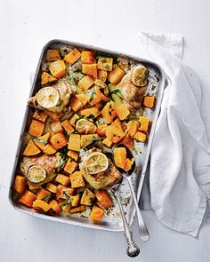 This recipe for butternut squash, chicken and tarragon traybake is a healthy option for a quick and easy midweek dinner.