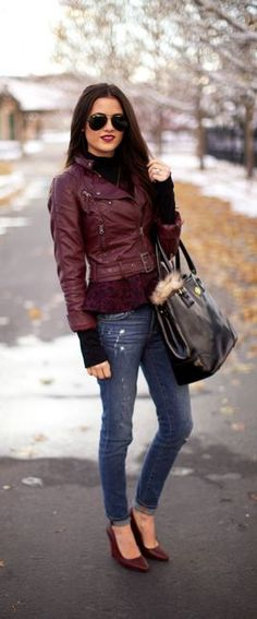 Burgundy Fall Style-Jacket, Shoes alternative to the usual black we see in the city!