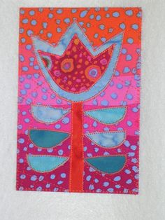Flower   Applique Quilted Fabric Postcard  Whimsical Flower. $6.00, via Etsy.
