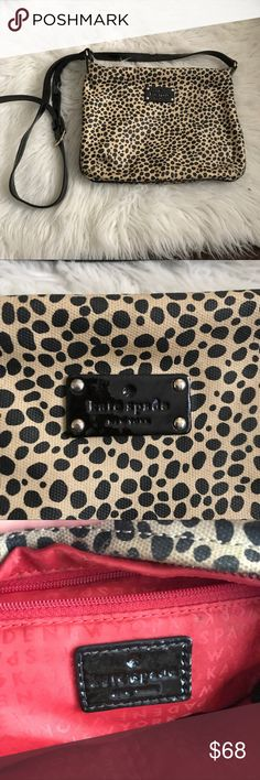Kate Spade Black Spotted CrossBody In great condition! No flaws. Tan colored and black spots. kate spade Bags Crossbody Bags