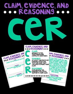 Introduce your students to creating scientific explanations using Claim, Evidence, and Reasoning! This packet includes a reference sheet for your students and two practice CER questions. The first relates to Food Chains and Webs, the second to Heredity. Science Curriculum, Science Classroom, Science Lessons, Teaching Science, Science Education, Science Activities, Third Grade Science, Middle School Science, Teaching Time
