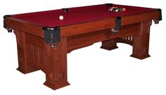 Amish Handcrafted Landmark Mission Billiard Table Enhance your game days with your own custom pool table that you can enjoy playing with your friends and family.This billiard table has a classic Mission warmth that will fit in beautifully in your home. Amish Furniture, Custom Furniture, Cherry Wood Furniture, Custom Pool Tables, Solid Wood Table, Amish Country, Table Games, Walnut Wood, Wood Species