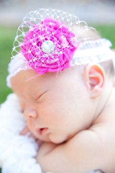 Nettie - Miss Plunkett Boutique Store -----love every bit! The ruffly headband, pink flower, NETTING, and the center stone :D
