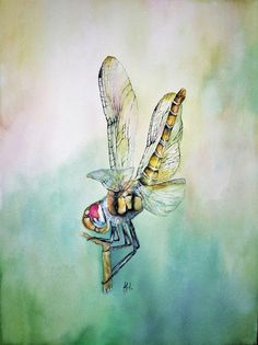 The dragonfly original watercolor painting