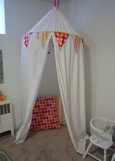 Sew Easy Play Tent - curtains and a hula hoop make for fun times