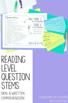 The questions in this pack are aligned by reading levels so students can have explicit instruction and practice answering during whole group and small group time in class. We also want students to orally and visually be able to read these types of questions and understand what is being asked of them.