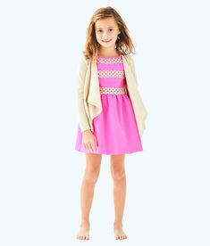 """Girls' Clothing (sizes 4 & Up) Nwt Lilly Pulitzer Girl's Linley Dress """"true Navy"""" 4 Dresses"""