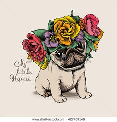 Hippie Pug puppy in a floral head wreath. Vector illustration.