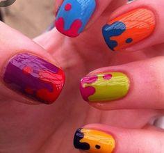 Multi Colored Drip Nails