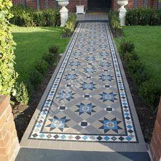 Olde English Tiles – Paddington pattern with the Norwood border. Gorgeous Path Heritage Tessellated Tiles