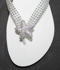 Beach Bridal Bling Rhinestone Flip Flops With Silvertone Crystal Starfish Wedding Shoes