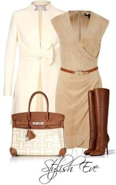 tan and brown ♥✤ | Keep Smiling | BeStayBeautiful/ I have the boots (or something similar) now I just need the purse, belt, dress and coat.