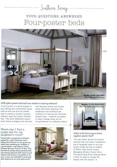 Brent Cooper, Simon Horn's MD advises on choosing a four poster bed simonhorn.com Country Homes & Interiors November 2015