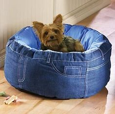 The cutest little blue jean dog bed!