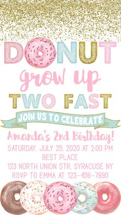 2 Year Old Birthday Party Girl, Second Birthday Ideas, Girls Birthday Party Themes, Donut Birthday Parties, Birthday Banners, Farm Birthday, Donut Party, Spa Birthday, Turtle Birthday