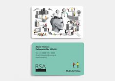 credit card graphic Together Design has worked with illustrator Adam Simpson to redesign the Royal Society of the Arts (RSA) membership card. New England Aquarium, Credit Card Design, Member Card, Royal Society, Body Spa, Visa Gift Card, Information Design, Library Card, Editorial Layout