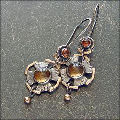 Strukova Elena - the author's jewelry - earrings Solar)) Rustic Jewelry, Metal Jewelry, Jewelry Art, Silver Jewelry, Handmade Jewelry, Jewelry Design, Women Jewelry, Silver Ring, Silver Earrings