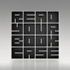 "Italian furniture and interior design company Saporiti has come up with a uniquely clever concept for this white laminate bookshelf. By playing around with the placement of the shelves within each box, they were able to form the phrase ""READ YOUR BOOKCASE."" Each individual shelf contains a different letter and can be stacked to form a complete word or stand freely on its own. LOVE IT!"