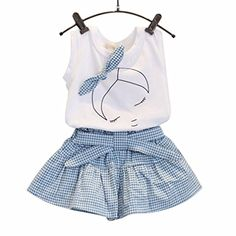 FEITONG Kids Girls Cute Bow Girl Pattern Shirt Top Grid Shorts Set Clothing (Age:6-7Y)