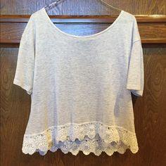Cream Crop Top heathered top with crochet hem Tilly's Tops Crop Tops
