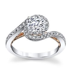 14K White And Rose Gold Diamond Engagement Ring Setting 1/4 Cttw Tie A Little Knot Collection