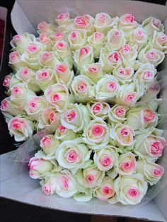 Sugared pink and white roses..Rungis Flower Market - France