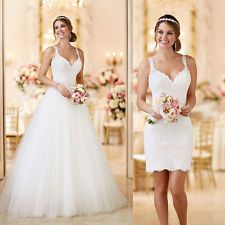 Lace Wedding Dresses White/Ivory Detachable Bride Bridal Custom Gowns Size 4-26+
