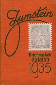 """Cover of Zumstein's Briefmarken Katalog 1935. I also have 1932, 1945 and 1956. Each illustration in the book is scratchboard, maybe 3/8"""" tall. Ridiculous amount of work to do these illustrations. More @newhousebooks and http://newhousebooks.tumblr.com"""