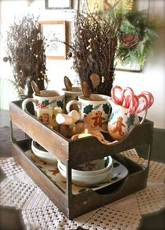 2 tiered vintage paper tray to hold Christmas mugs and cocoa fixings