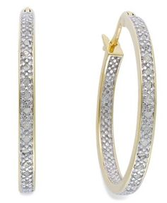 Victoria Townsend Rose-Cut Diamond Hoop Earrings in 18k Gold over Sterling Silver or Sterling Silver (1/4 ct. t.w.), 26.50mm
