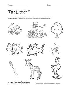 Letter F Worksheet for Preschool: Circle the Objects that begin with the Letter F.