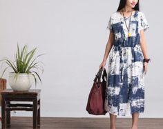 Casuale sciolto montaggio breve manica lunga vestito camicetta - donne Maxi maglia in cotone dress(LYQ012)