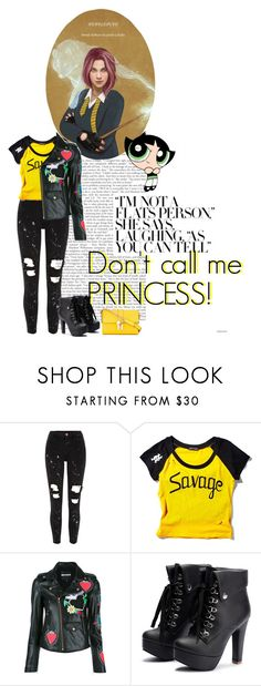 """""""Don't call me Nymphadora!"""" by bambolinadicarta ❤ liked on Polyvore featuring River Island, Current Mood, House of Holland, Dolce&Gabbana, Hufflepuff, nymphadoratonks and HarryPotterSaga"""