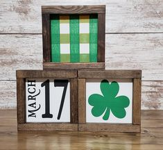 When my kids were little, we'd always celebrate St. Patrick's Day with a story and some festive food . St Patrick's Day Crafts, Holiday Crafts, Diy Crafts, St Paddys Day, St Patricks Day, Saint Patricks, St. Patrick's Day Diy, Wood Block Crafts, St Patrick's Day Decorations