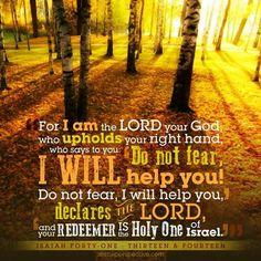 "For I, Yahweh your God, will hold your right hand, saying to you, 'Don't be afraid. I will help you.' Don't be afraid, you worm Jacob, and you men of Israel. I will help you,"" says Yahweh, ""and your Redeemer is the Holy One of Israel. -- Isaiah 41:13-14"