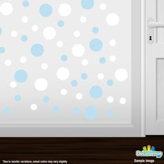 Set of 30 - Circles Polka Dots Vinyl Wall Graphic Decals Stickers (Baby Blue / White) * See this great product.