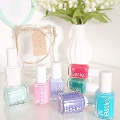 The essentials: essie nail polish in all pink, purple and blue pastel shades.