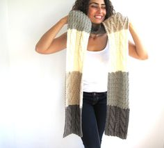 4 Color Scarf Stole by Afra by afra on Etsy, $55.00  -  has beautiful clothes, sweaters, socks, hats, gloves, scarves, knit, crochet, patterns.  check out etsy store.      lj