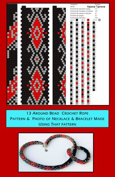 13 around bead crochet rope pattern and includes a photo of necklace and bracelet created using the same pattern Crochet Bracelet Pattern, Crochet Beaded Necklace, Crochet Jewelry Patterns, Beaded Necklace Patterns, Bead Crochet Rope, Loom Patterns, Beading Patterns, Beaded Necklaces, Bracelet Patterns