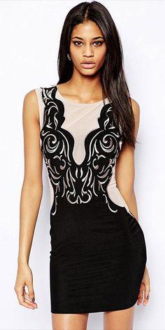 Sexy Backless Gauze Spliced Sleeveless Slim Fit Dress