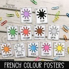 Help your students learn to spell french colour words with these versatile cards. Post them around your classroom, use them as an assessment tool, print multiple slides per page and slip them into your pocket chart or your bulletin board, ask your students to place them in alphabetical order or prin... Teaching Plan, Student Learning, Communicative Competence, Language Immersion, French Colors, Language Proficiency, Learn To Spell, Alphabetical Order, Poster Colour