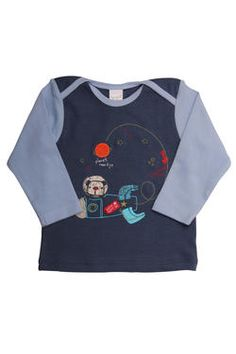 "Naartjie Kids SA newborn boys colour-blocked top with our playful ""space"" print and embroidery detail."