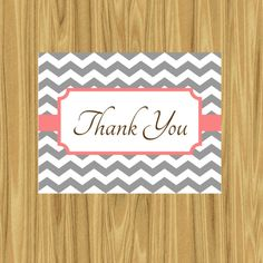 Printable Chevron Thank You Note Card DIY by ParraclanDesigns
