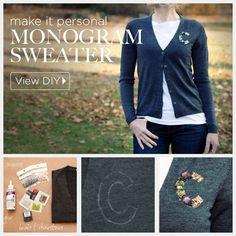 DIY Monogram Sweater by trinketsinbloom.com - no sew