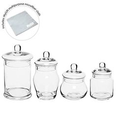 Set of 4 Decorative Clear Glass Apothecary Jars, Wedding Centerpiece Display Storage Canisters with Lids Apothecary Jars Wedding, Glass Apothecary Jars, Storage Canisters, Decorative Storage, Wedding Centerpieces, Clear Glass, Display, Bottle, Drinkware