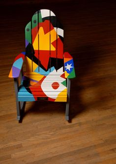 Clinton, NY Chamber of Commerce holds an art auction each year in their community, at the Kirkland Art Center. This rocker was painted by John Loy. things I love about Clinton, NY. Funky Painted Furniture, Painted Chairs, Recycled Furniture, Colorful Furniture, Cool Furniture, Funky Chairs, Colorful Chairs, Plastic Patio Chairs, Chairs For Sale