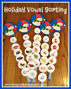 Holiday Vowel Sort- print out the 25 short vowel snowball pictures for this DIY activity. Vowel Activities, Sorting Activities, Christmas Activities, Winter Activities, Kindergarten Literacy, Literacy Centers, Preschool, Classroom Fun, Winter Theme