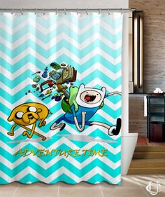 Cheap Chevron Mint Adventure Time Cover Shower Curtain