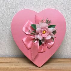 Vintage Valentine Candy Heart Box Pink Satin Bow Ruffle Flower Chocolates 10""