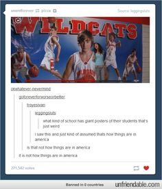 I find this funny, since my school actually has giant pictures of the students lining the walls above the lockers.